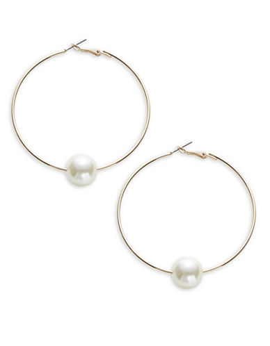 Expression Hoop Earrings with Faux Pearls-WHITE-One Size