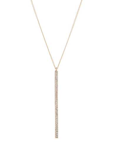 Expression Pave Bar Pendant Necklace-GOLD-One Size