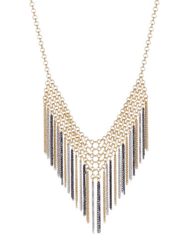 Expression Chain Mail Fringe Necklace-TRI TONE-One Size