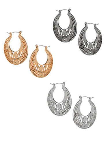 Expression Three-Pair Filigree Hoop Earrings Set-ASSORTED-One Size