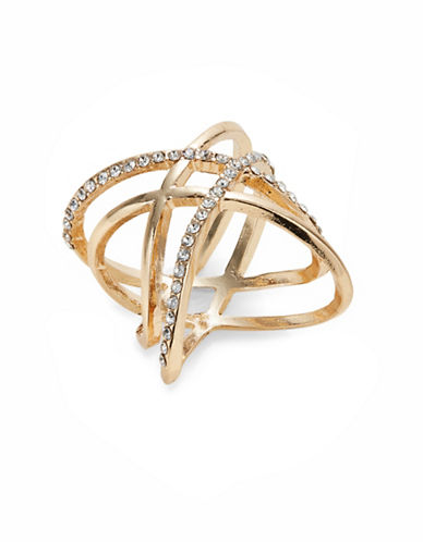Expression Crisscross Pave Ring-GOLD-7