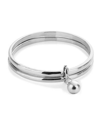 Expression Two-Row Dangle Bead Bangle Bracelet-SILVER-One Size