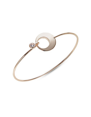 Expression Cut-Out Circle Latch Bangle Bracelet-ROSE GOLD-One Size
