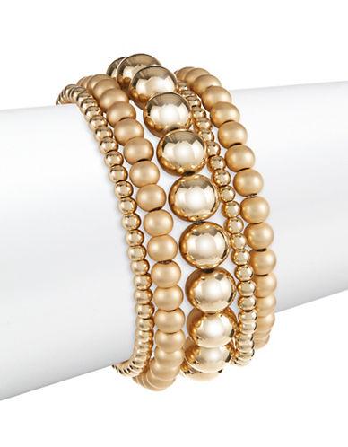 Expression Five-Piece Beaded Bracelet Set-GOLD-One Size