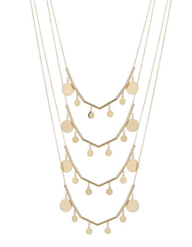 Expression Two-Piece Multi-Row Disc Necklace Set-GOLD-One Size