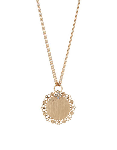 Expression Two-Row Layered Disc Pendant Necklace-GOLD-One Size