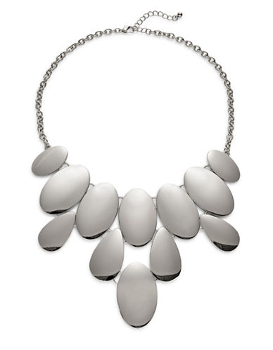 Expression Oval Bib Necklace-SILVER-One Size