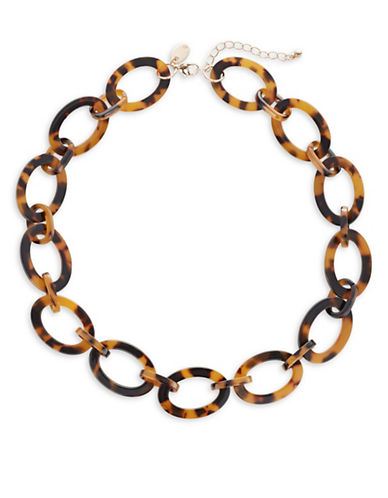 Expression Tortoiseshell Link Necklace-BROWN-One Size