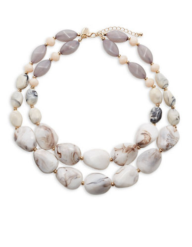 Expression Two-Row Marbled Bead Necklace-PINK-One Size