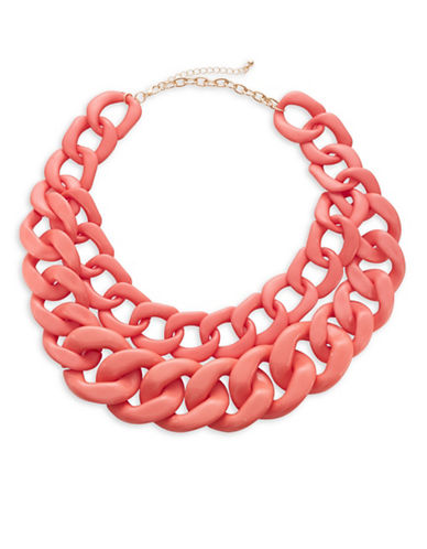 Expression Two Row Plastic Link Necklace-ORANGE-One Size