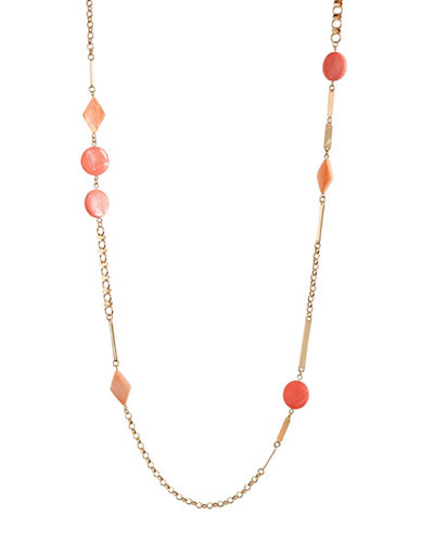 Expression Geometric Station Necklace-PINK-One Size