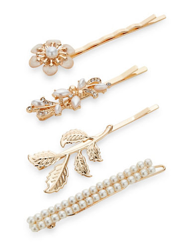 Expression Four-Pack Faux Pearl Bobby Pins-GOLD-One Size