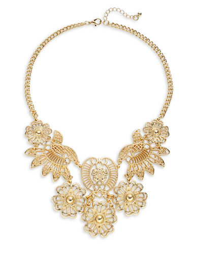 Expression Floral Filigree Statement Necklace-GOLD-One Size
