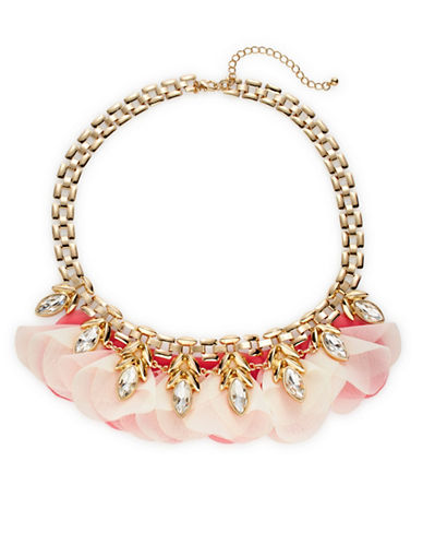 Expression Chiffon Petal Flower Necklace-PINK-One Size