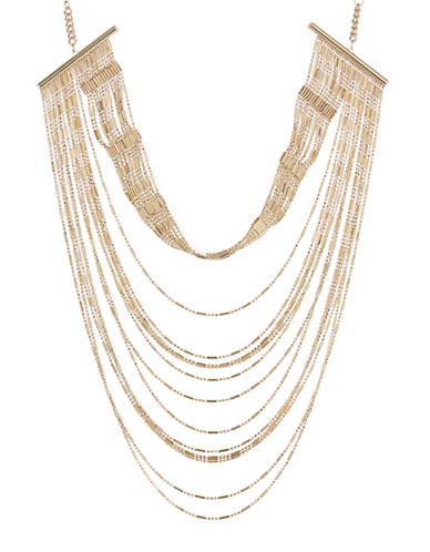 Expression Layered Chain Bead Necklace-GOLD-One Size
