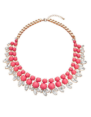 Expression Cabochon and Marquis Frontal Necklace-CORAL-One Size