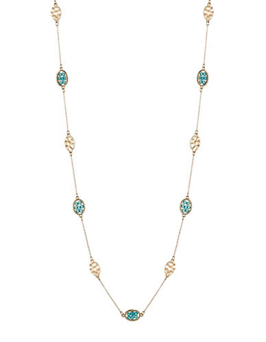 Expression Beaded and Hammered Oval Station Necklace-BLUE-One Size 89125614_BLUE_One Size