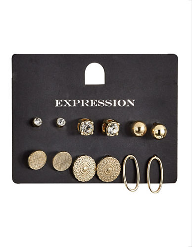 Expression Six-Pack Multi-Earring Set-GOLD-One Size