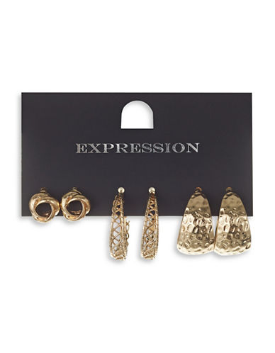 Expression Three Pack Textured Hoop Earring Set-GOLD-One Size