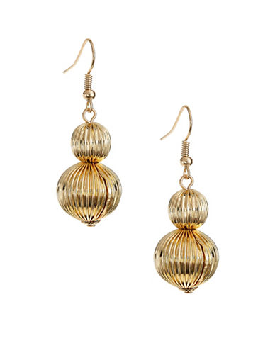 Expression Textured Double-Ball Drop Earrings-GOLD-One Size