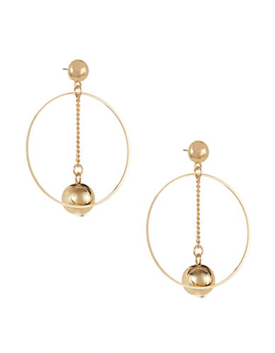 Expression Drop Inner Ball Hoop Earrings-GOLD-One Size