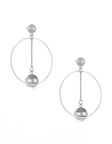 Expression Drop Inner Ball Hoop Earrings-SILVER-One Size