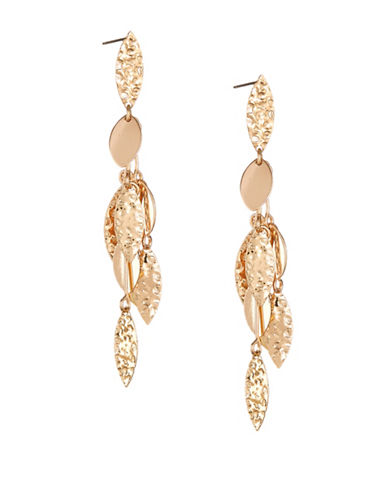 Expression Multi-Dangle Leaf Drop Earrings-GOLD-One Size