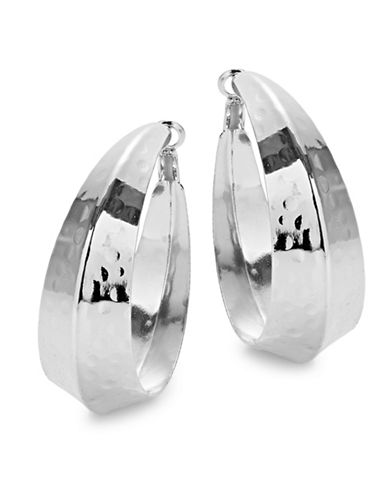 Expression Think Knife Edge Hoop Earrings-SILVER-One Size