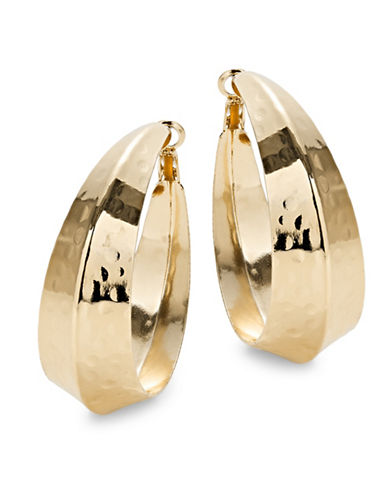 Expression Think Knife Edge Hoop Earrings-GOLD-One Size