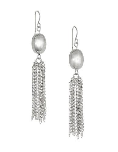 Expression Oval Tassel Drop Earrings-SILVER-One Size