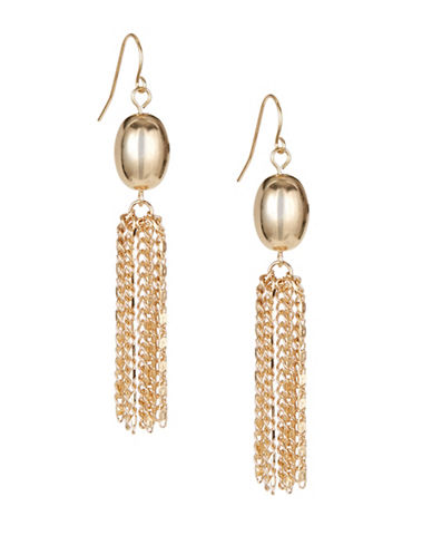 Expression Tasselled Bead Earrings-GOLD-One Size