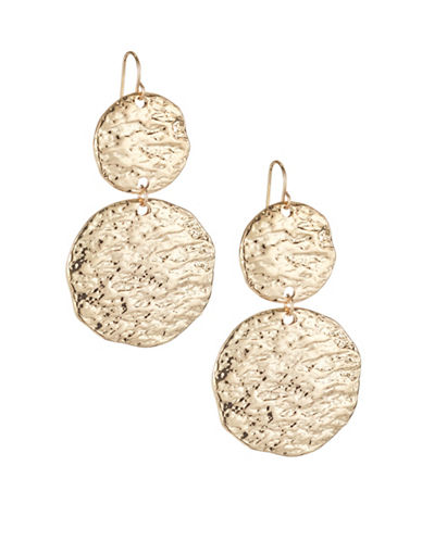 Expression Textured Disc Drop Earrings-GOLD-One Size