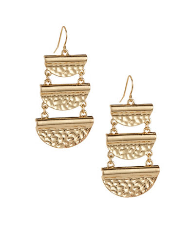 Expression Textured Half Moon Drop Earrings-GOLD-One Size