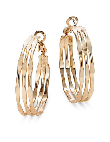 Expression Three Row Hoop Earrings-GOLD-One Size
