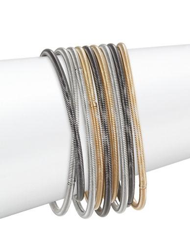 Expression Nine-Pack Wire Bracelets-TRI TONE-One Size