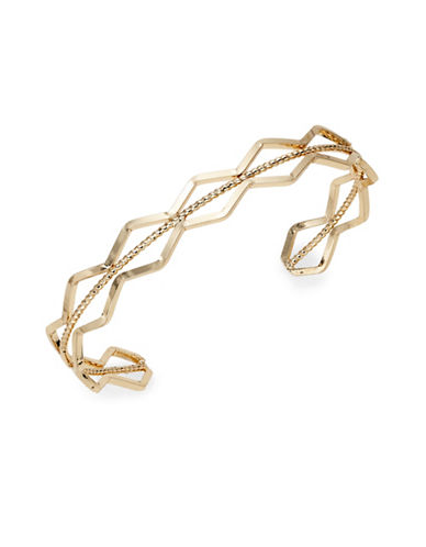 Expression Wavy Open Cuff Bracelet-GOLD-One Size
