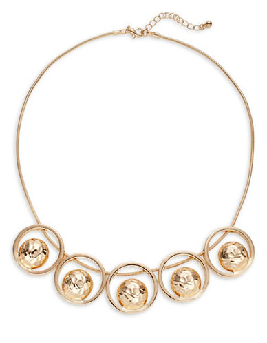 Expression Five-Ring Textured Necklace-GOLD-One Size