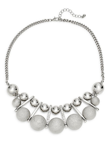 Expression Two-Row Polished and Sandblasted Ball Necklace-SILVER-One Size