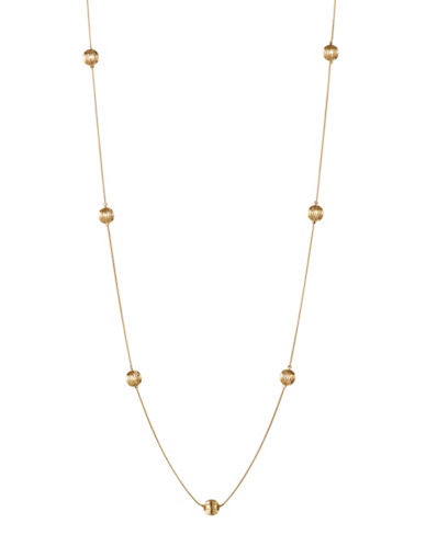 Expression Textured Bead Necklace-GOLD-One Size