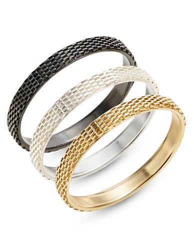 Expression Three-Piece Flat Chain Bangle Bracelet Set-TRI TONE-One Size