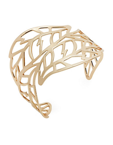 Expression Leaf Filigree Open Cuff Bracelet-GOLD-One Size