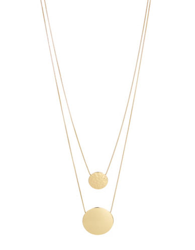 Expression Two-Row Disc Pendant Necklace-GOLD-One Size