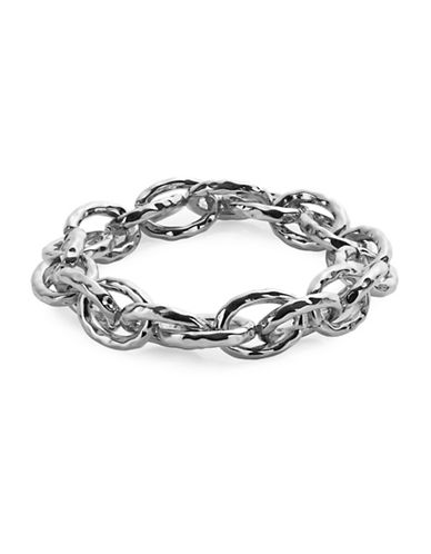 Expression Silvertone Oval Link Chain Bracelet-SILVER-One Size