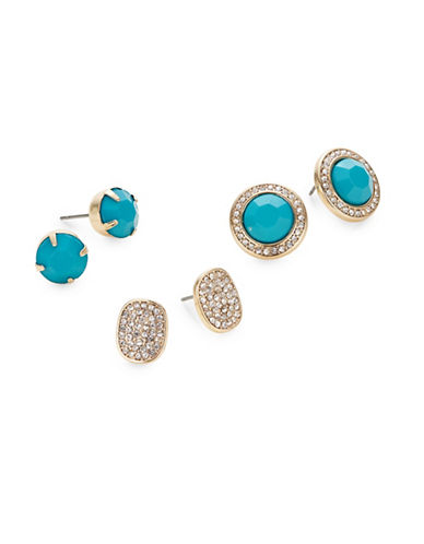 Expression Three-Pair Stud Earring Set-BLUE-One Size
