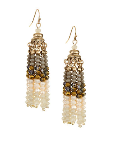 Expression Beaded Tassel Drop Earrings-BROWN-One Size