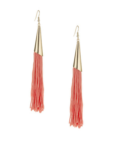 Expression Long Tassel Drop Earrings-ORANGE-One Size