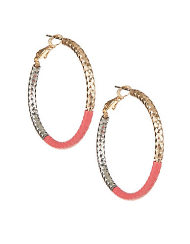 Expression Half Painted Hoops-CORAL-One Size