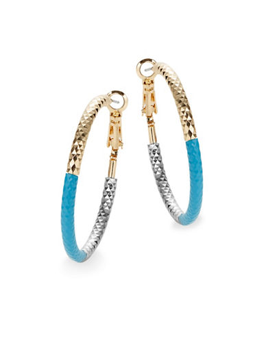 Expression Tri-Tone Textured Hoop Earrings-BLUE-One Size
