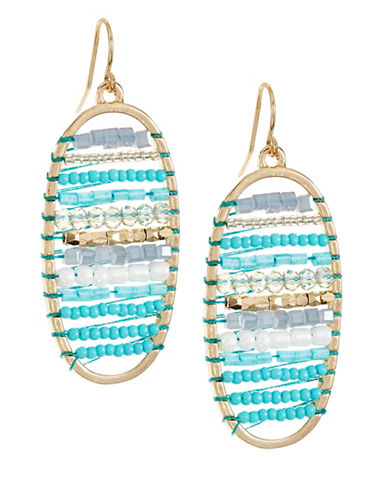 Expression Striped Drop Earrings-BLUE-One Size