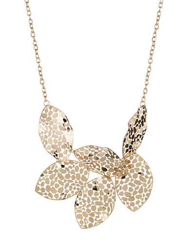 Expression Filigree Leaves Frontal Necklace-GOLD-One Size